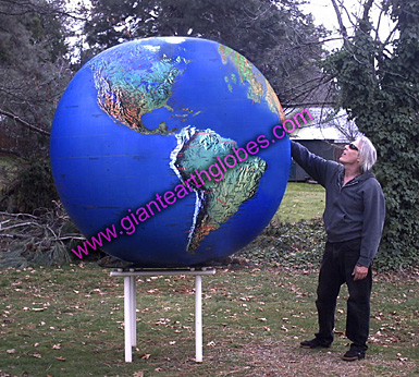 6 ft topo world globe balloon on table