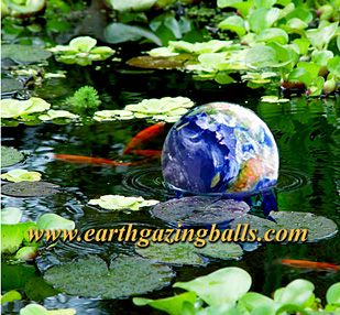 earth gazing ball in pond