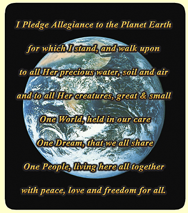 earth pledge of allegiance magnet close up