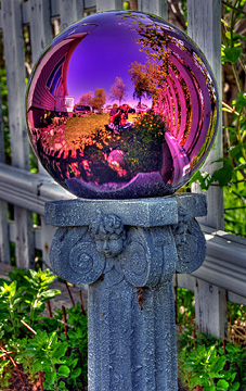 purple gazing ball