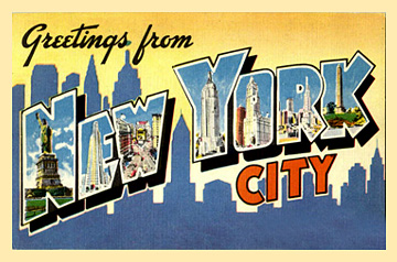 greetings from New York City vintage postcard