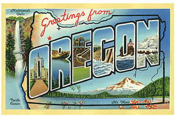 greetings for oregon postcard 2x3 thick magnet