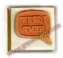 I grew hemp rubber stamp red rubber