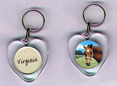 snap in heart shaped keytag