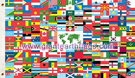 world flag with 216 countries