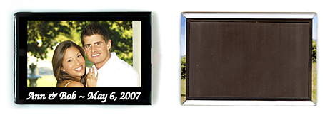 wrapped metal photo magnets